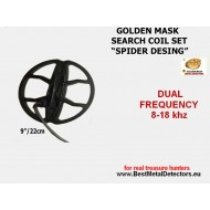 Search Coils Spider 9''-22 sm Golden Mask dual freq 8-18Khz